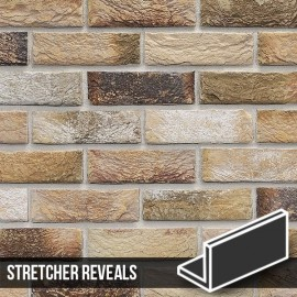 London Weathered Yellow Brick Slip Stretcher Reveal