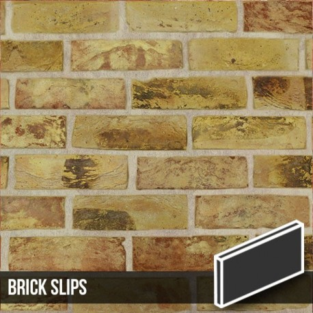 London Reclaimed Yellow Stock Brick Slips Grey Mortar