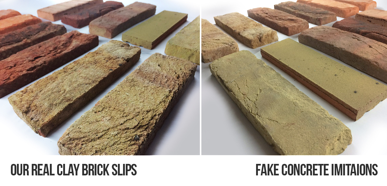 Our real clay brick slips vs concrete fake brick slips