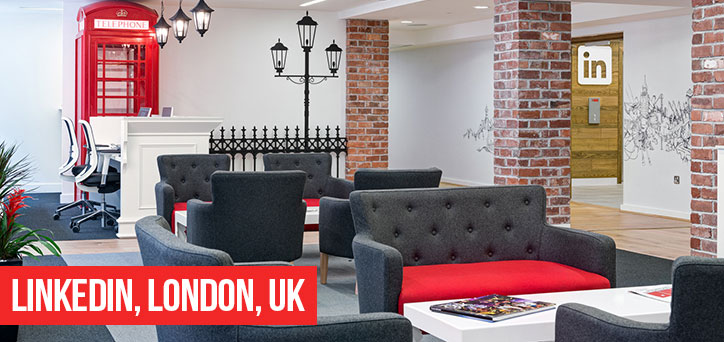 linkedin office london, brick slips in offices