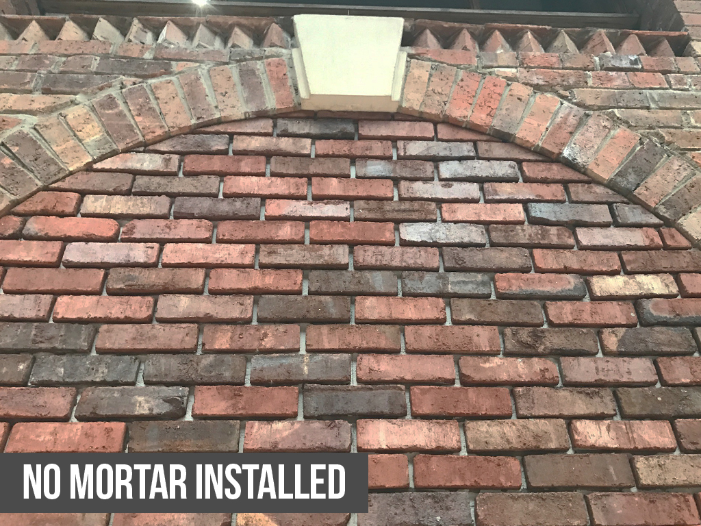 No Mortar Urban Weathered Red brick slips