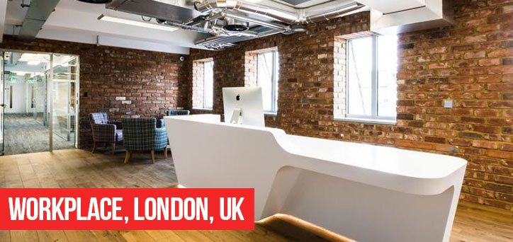 Workplace, London, UK - brick slips in offices