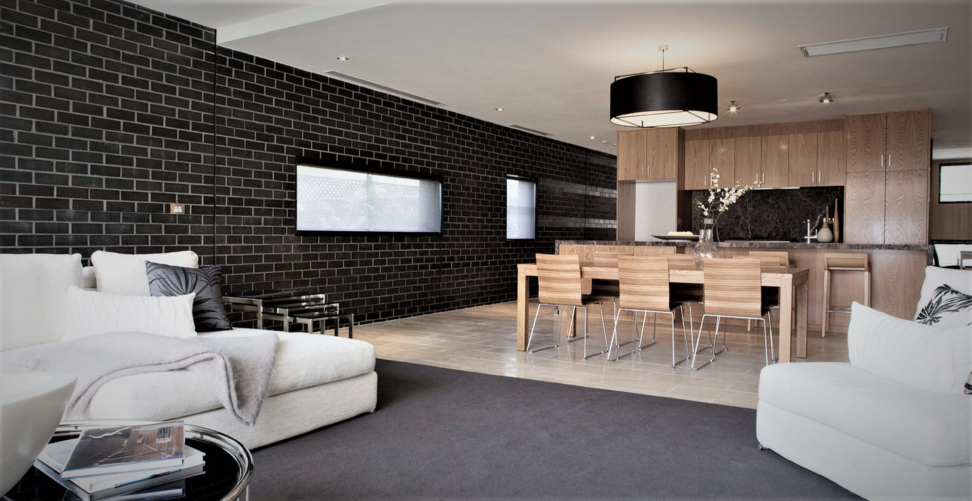 brick wall contemporary living room