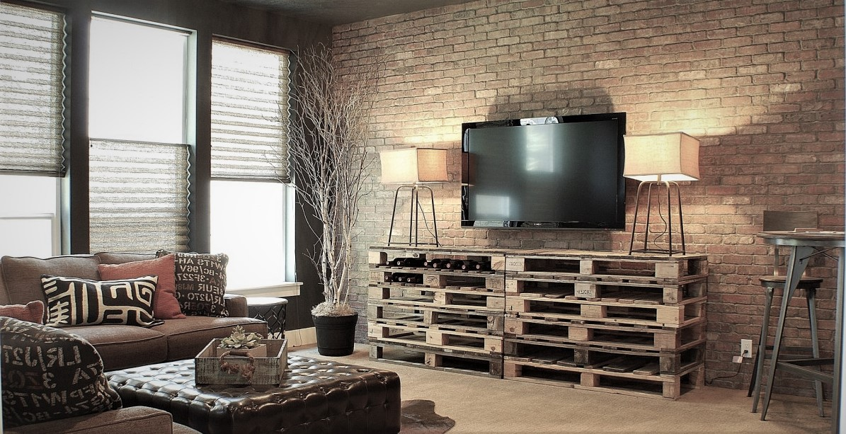 living room entrancing modern | Brick feature wall a solution for comfort style and living ...