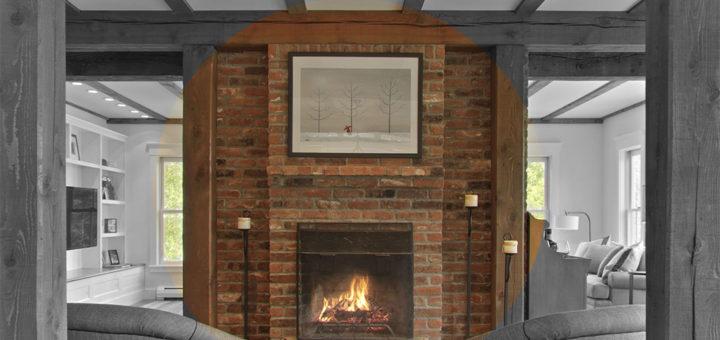 feature brick fireplace